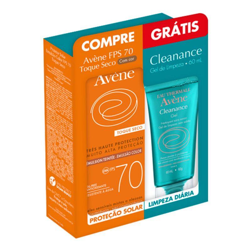 AVENE-EMULSAO-TOQUE-SECO-COM-COR-FPS70-50ML-GRATIS-CLEANANCE-GEL-60ML